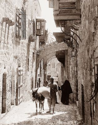 This picture was taken in Jerusalem in the early 1900's. It shows station 5 on the Via Dolorosa, or Way of Suffering. It is the path, tradition says, that Christ took on the way to thecrucification.