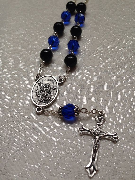 St Michael one decade car rosary, Police Thin Blue Line on Etsy, $10.00