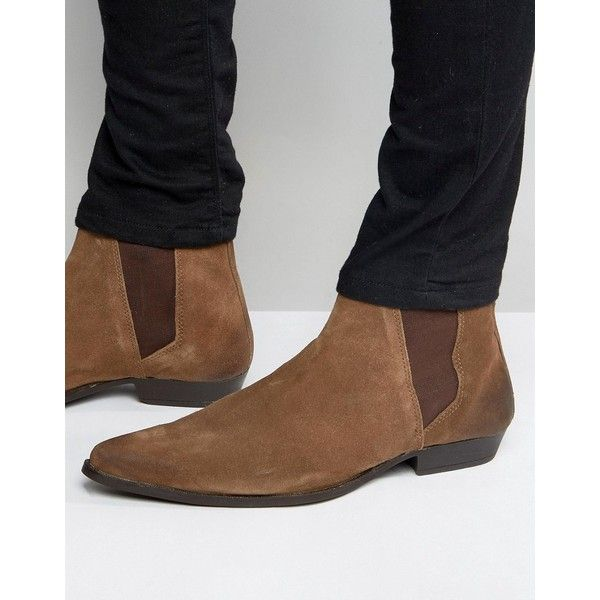 ASOS Pointed Chelsea Boots in Brown Suede (€37) ❤ liked on Polyvore featuring men's fashion, men's shoes, men's boots, brown, mens brown shoes, mens pointy boots, mens pointed toe shoes, mens brown suede shoes and mens suede shoes