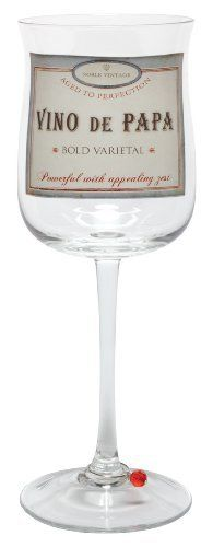Santa Barbara Design Studio Long Stem Wine Glass with Beaded Stem Charm, Wino De Papa by Santa Barbara Design Studio Kitchen. $15.99. Santa barbara design studio; wine time wine glass with a label for every occasion; packaged in a coordinating gift box. Label design: vino de papa / powerful with appealing zest. 12-Ounce capacity; 10-Inches tall. Because there's always time for a glass of wine; not dishwasher safe, gentle hand washing recommended. Clear long stem tall w...