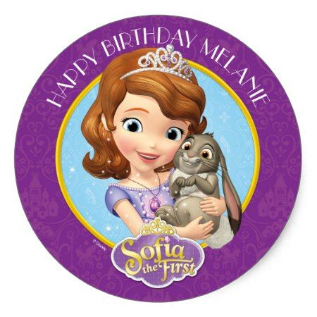 Sofia the First Birthday Classic Round Sticker - tap to personalize and get yours