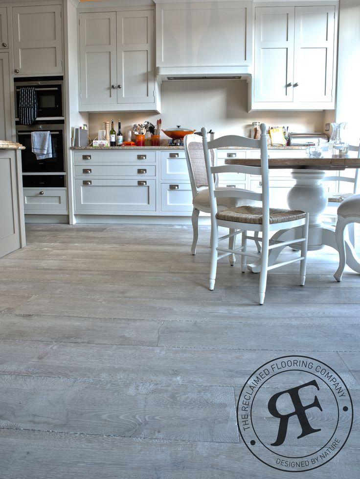Mixed Width Natural European Constructed Grey Oak Wood Floor For Underfloor Heating In Kitchen