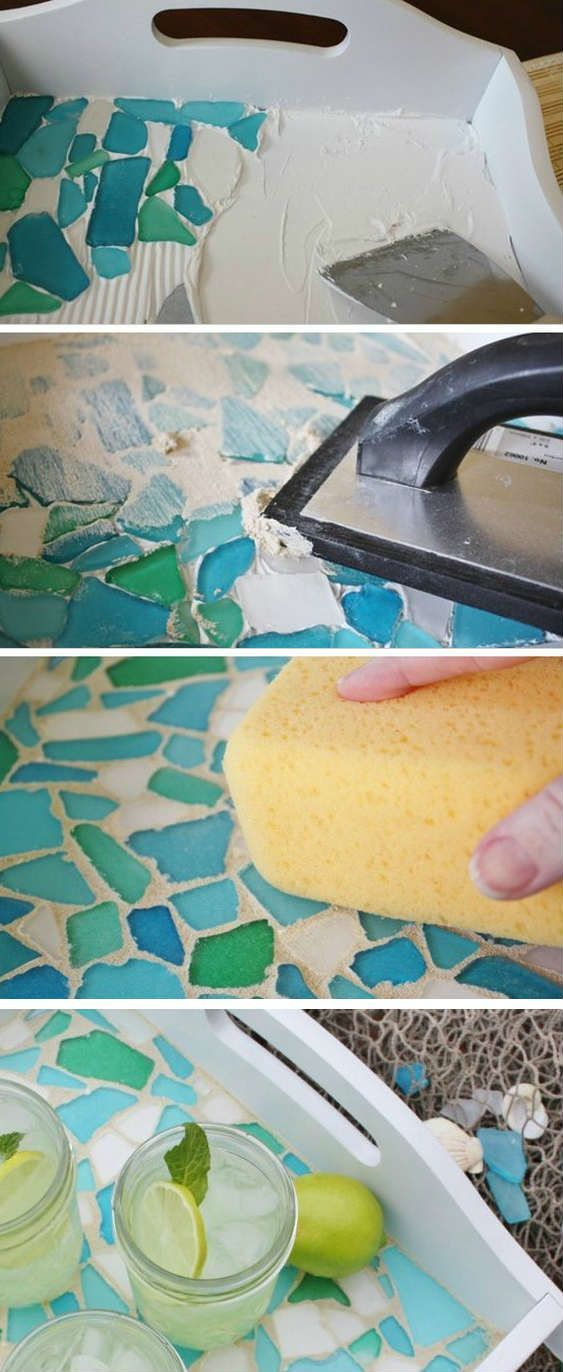 Projects for Decorating Serving Tray. use beach glass, inside of a box or catchall or thrifted thing