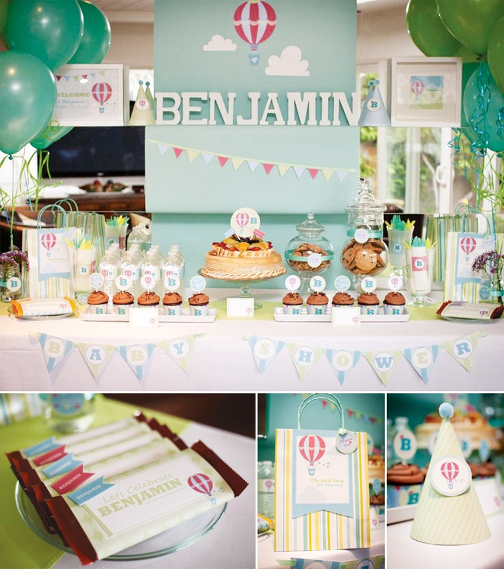 Hot Air Balloon Baby Shower Tablescape