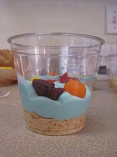 Snack  -Vanilla Wafers  -Clear cups  -Blue yogurt or you can dye it with food coloring)  -fish fruit snacks or gummies