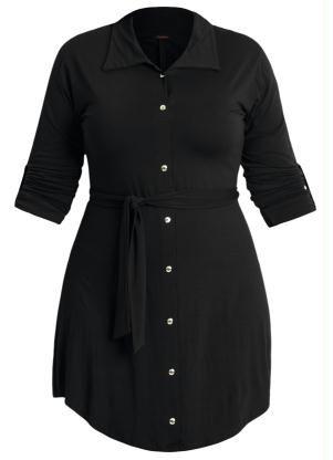 Vestido Shirtwaist Plus Size Negro - Posthaus