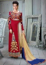 Party Wear Red Satin Silk Embroidered Work Straight Suit