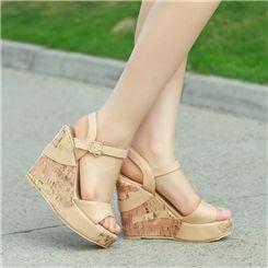 Elegant Wedge Heels  PU   Platform Peep toe Rice Colour Sandals