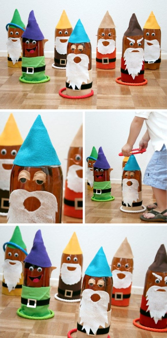 Seven Dwarf Ring Toss (made from soda pop bottles) for Snow White Birthday Party