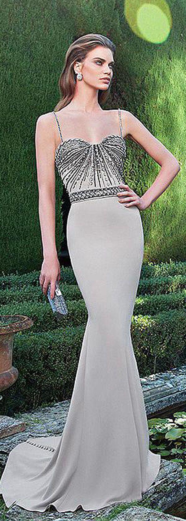 Glamorous Stretch Satin Spaghetti Straps Neckline Mermaid Formal Dresses