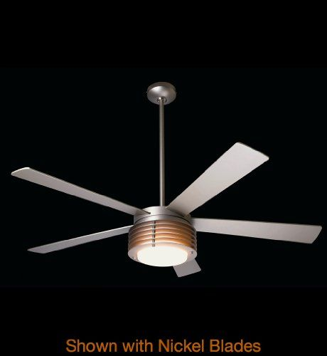 Modern Fan Company - PHA-MN-42-MP-IN-005 - Pharos Fan Shade: White Glass with Matte Nickel Rings. Wall Control with Remote Handset (2-wire) included. Blade Finish: Maple - Blade Span: 42 inches. Fan Wattage: 71 - CFM Per Watt: 71. Collection: Pharos.  #Modern_Fan_Company #Lighting