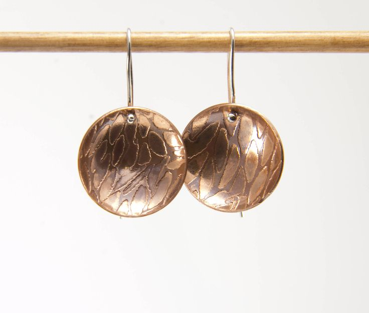 Copper Earrings. Dangle Earrings. Drop Earrings. Etched Copper. Gift For Her. Round Earrings. Dome Earrings.Pattern Earrings.Boho Earrings by AndonaDesigns on Etsy https://www.etsy.com/au/listing/525965329/copper-earrings-dangle-earrings-drop