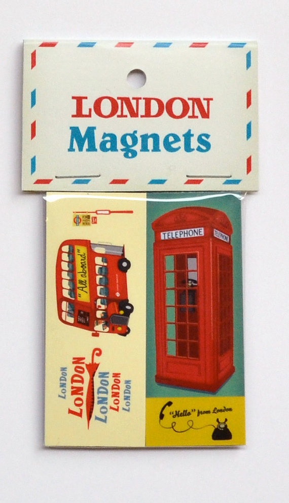 Pack Of Two London Themed Fridge Magnets Featuring A Red Bus And Telephone Box