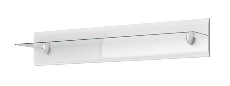 HEKTOR 01 PANEL z półką szklaną biały Półka dekoracyjna jest niezbędna w każdym pokoju gościnnym. Zapewnia ekspozycję pamiątek rodzinnych, fotografii, a także kwiatów czy artystycznych dekoracji. Stanowi nieodłączną część aranżacji, za pomocą której pomieszczenie nabiera specjalnego charakteru.   Przyjmuje cechy uniwersalne - dzięki kolorystyce białego połysku można do niego dopasować dodatki w każdej kolorystyce.