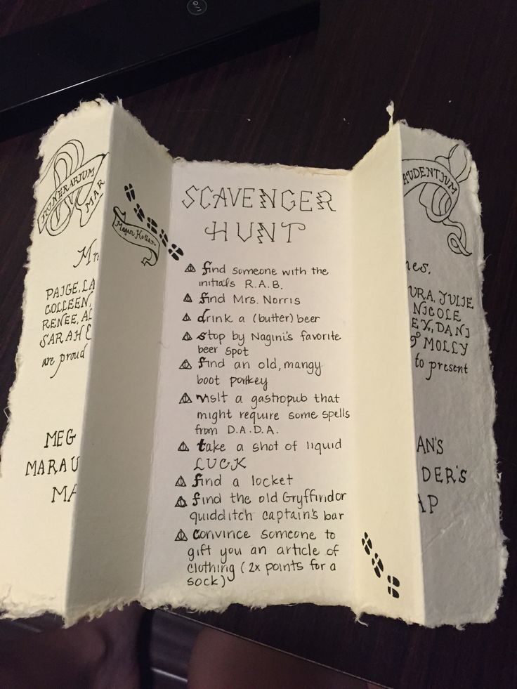 Marauder's Map Scavenger Hunt! Harry Potter themed clues for a bachelorette scavenger hunt. Lo modificaría para niñas, obvio