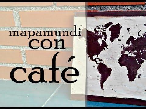 ❥ Cómo hacer un cuadro MAPAMUNDI con café | Decoración y Manualidades DIY