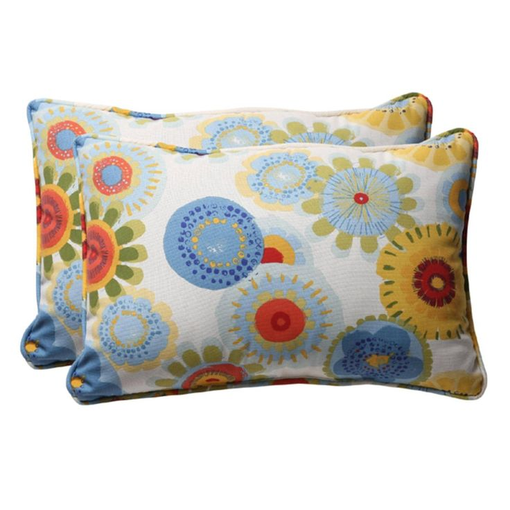 Pack of 2 Eco-Friendly Blue Multicolored Floral Outdoor Throw Pillows 24.5, Outdoor Cushion
