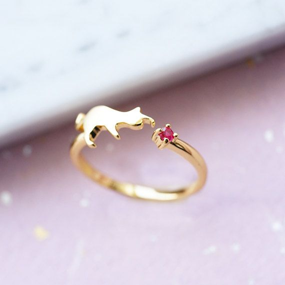 Cat Engagement Ring Red Ruby 14k Gold 18k