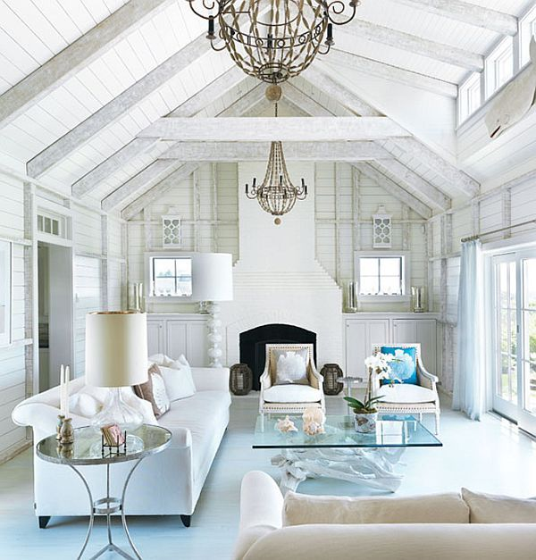 love this house: White Living Rooms, The Crows, Coastal Home, Beams, Interiors Design, Coastal Living, Beaches Houses, Nantucket Style, Beaches Cottages