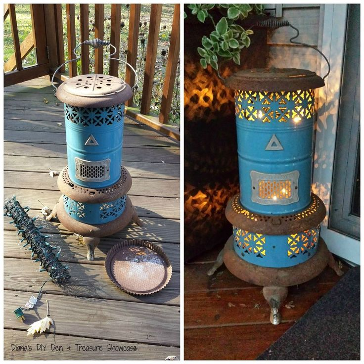 She wraps string lights around a cylinder and wait until you see what she does on her front porch!