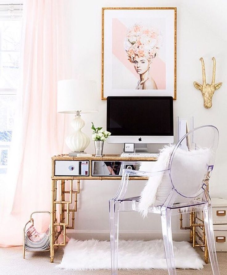 406 best images about Home  Pink  Gold Office on Pinterest