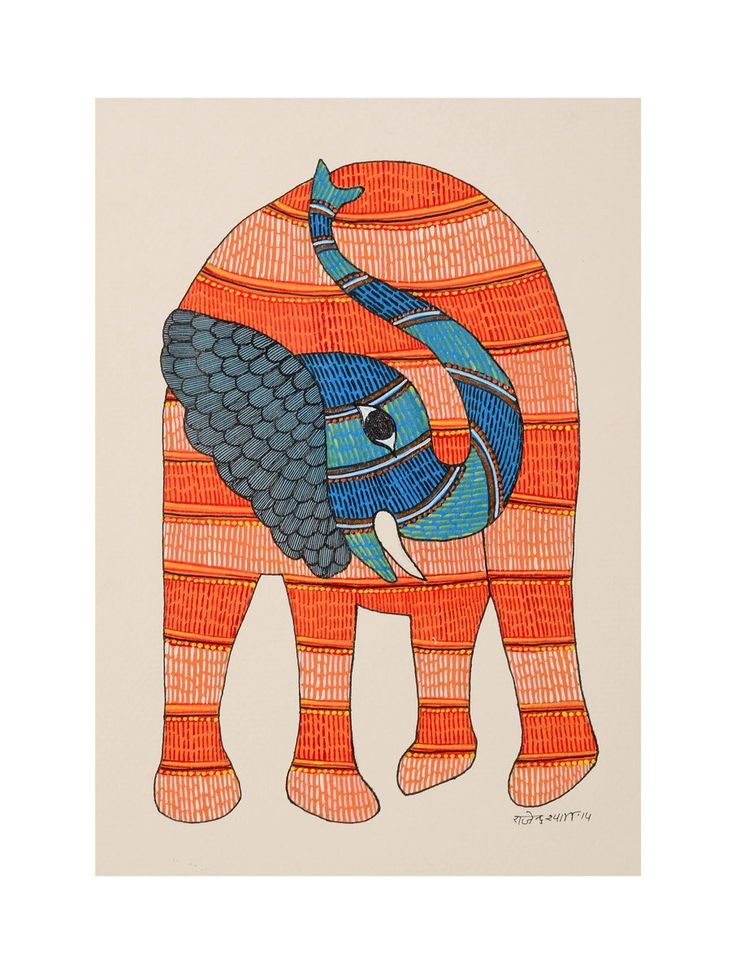 Buy Multi Color Elephant Gondh Painting By Rajendra Shyam 10in x 7in Paper Acrylic Permanent Ink Art Decorative Folk of Good Fortune Tribal Gond from Madhya Pradesh Online at Jaypore.com