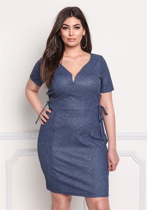 Plus Size Chevron Side Lace Up Dress