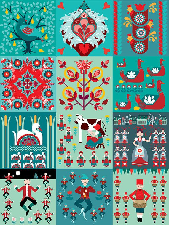 12 Days of Christmas cards 12 pack plus 1 free by treehillcloud, $12.00