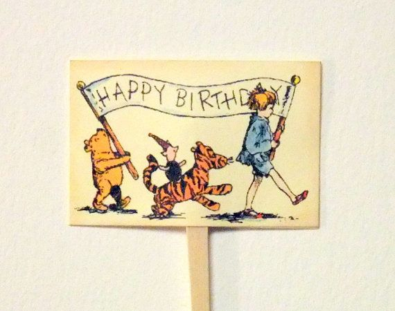 12 Vintage Winnie The Pooh Cupcake Toppers Baby Shower