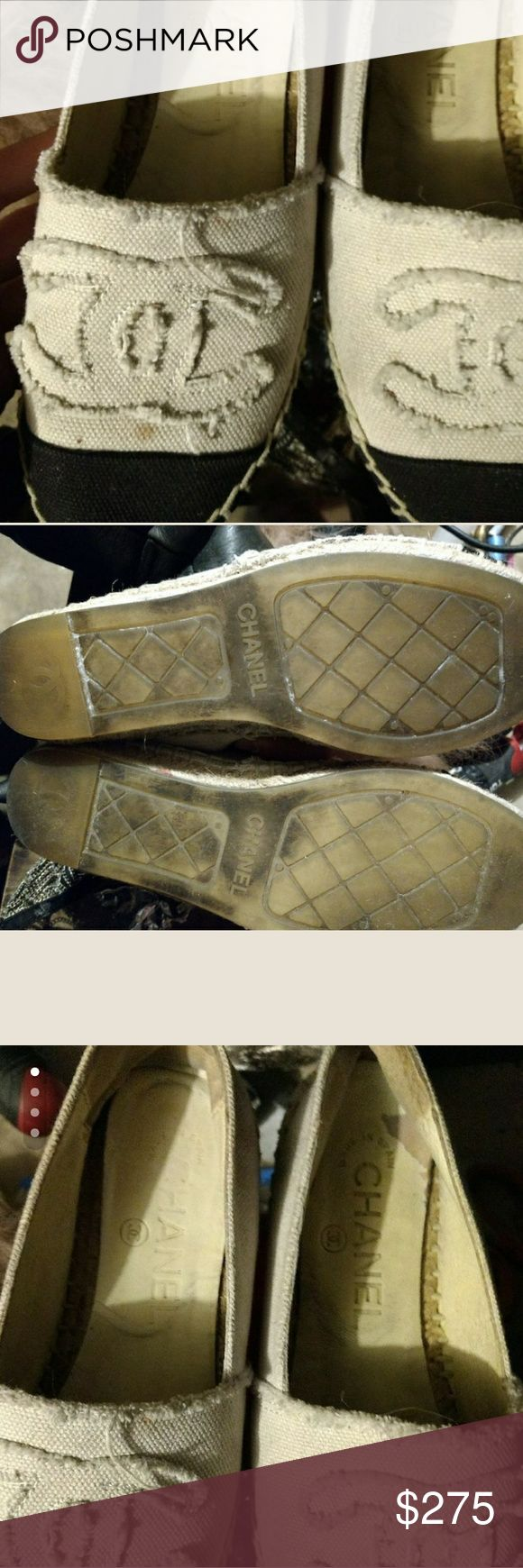 Chanel espadrilles Pre-owned but in great shape with no rips only some wear on the leather insole. B grade condition and flexible on price CHANEL Shoes Espadrilles