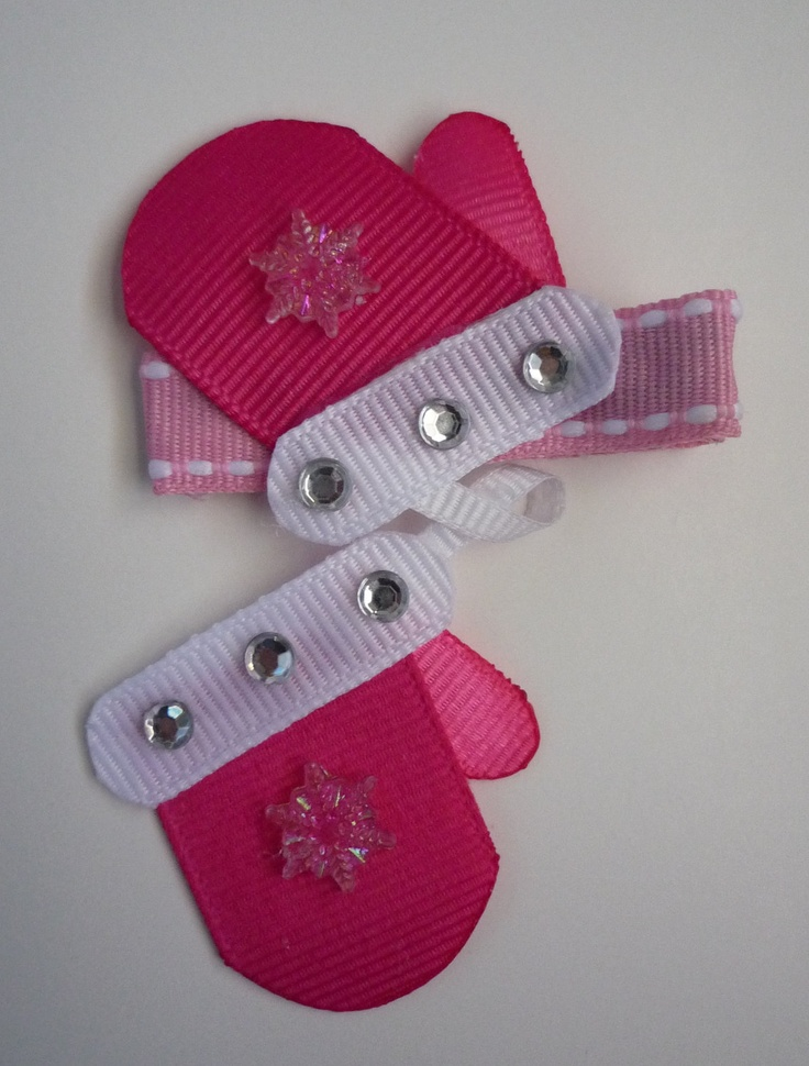 Pair of Mittens Hair-clip (Ribbon Sculpture). $6.25, via Etsy.