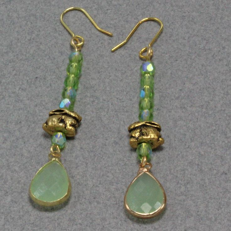 Handmade Earrings Czech Glass Bead Gold Rabbit Gold and Green On Gold  Filled  Hooks Oscarcrow Originals by oscarcrow on Etsy