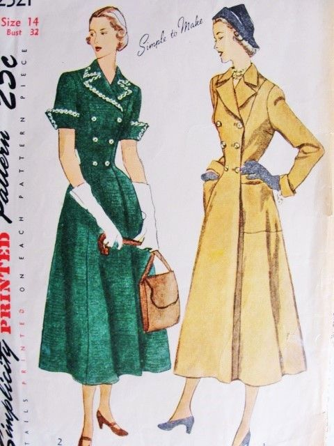 1940s Classy Coat or Coat Dress Pattern Simplicity 2521 Figure Flattering Princess Style Double Breasted Short or Long Sleeves Bust 32 Vintage sewing Patterns