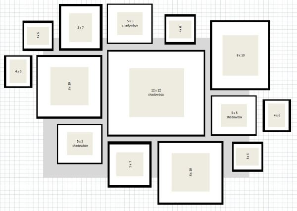Ikea Ribba gallery wall layout 2 excel..The gray box behind them is the existing piece of artwork that I already had in the space, so I could visualize how much bigger it would be on the wall. The one below was the winner, with the exception of a 5″ x 7″ frame put in place of the furthest right 4″ x 6″ frame pictured…