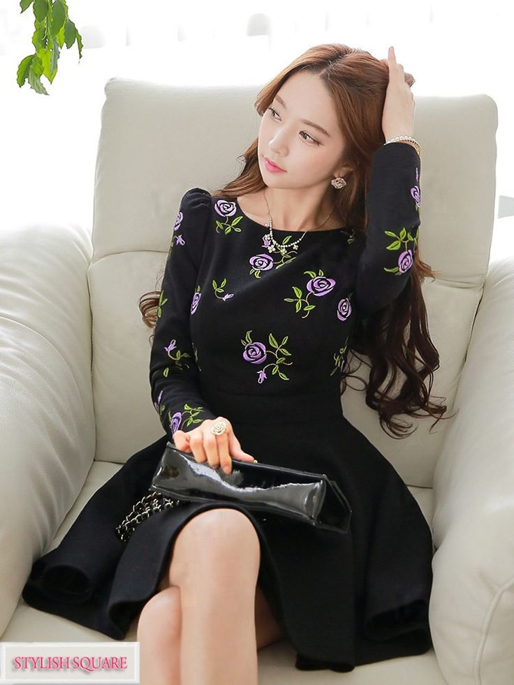 Rose Embroidered Waist Thin Dress