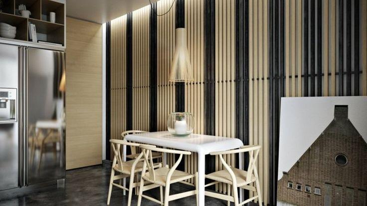 lambris mural en lamelles de bois clair et foncé dans la cuisine avec coin-repas