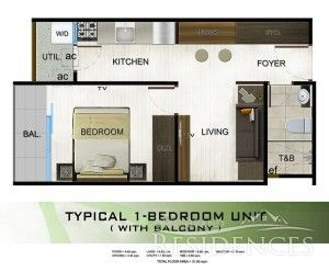 Amandari 1 Bedroom Unit With Balcony Floor Plan Floor Area: 31.60 sq.m. Pre-selling Price: 2,094,476.00 Note: Price may increase without prior notice.