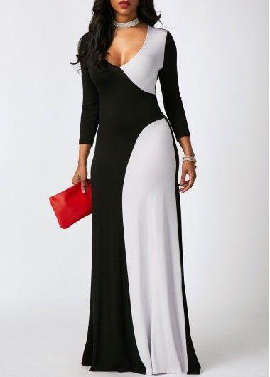 e901b601769 V Neck Long Sleeve Color Block Maxi Dress