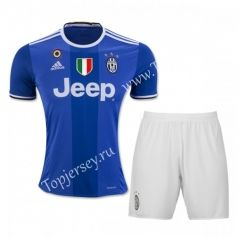 2016-17 Juventus Away Blue Thailand Soccer Uniform With Patches