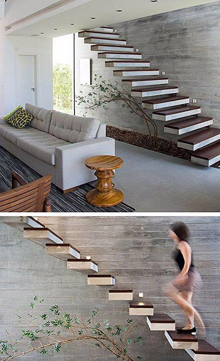 Escalier Marches Suspendues Mur escalier design, escalier moderne avec des marches bicolores