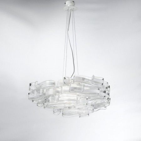 Elegant and refined lines. Soft spirals realized in #Murano #Glass developing on a metal structure decorated in precious silver leaf. Hand crafted satin Pyrex glass diffusers.  Colors, dimensions and number of lights can be customized to fulfill your wishes. Contact us for a free quotation.  Works with E27 100W light bulbs.