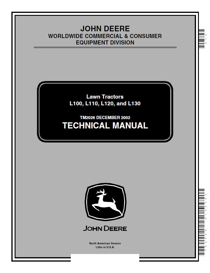 repair manual John Deere L100 L110 L120 L130 Lawn Tractors Technical Manual PDF TM2026