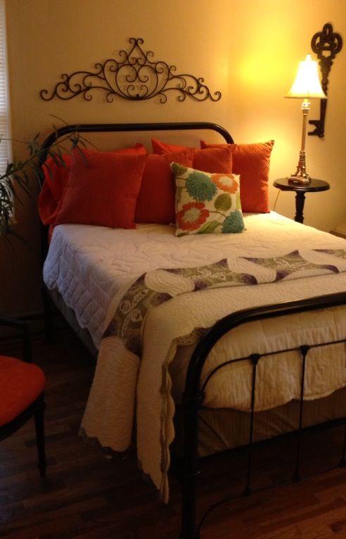 Antique Iron Bed, Black Spray Paint, Orange Oversized Pillows, Splash Of  Color Pillow