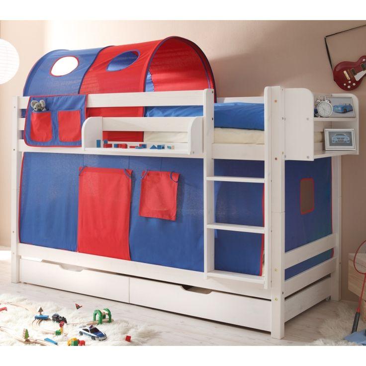 Simple Schlafzimmer M bel g nstig Bett Marcel cm Etagenbett Kiefer wei Blau Rot Etagenbett online kaufen Schicke Betten zum g nstigen Preis in verschiedenen