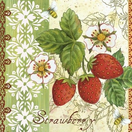 Berry Treat Strawberries ~ Elena Vladykina <><><><><><><><><><><><><><><> I love all of the different designs in this picture - gives it a feeling of texture. Very nice technique.