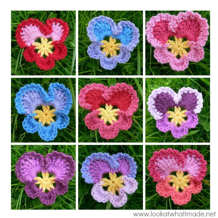 Grannys Crochet Pansy . ☀CQ #crochet #crochetflowers http://www.pinterest.com/CoronaQueen/crochet-leaves-and-flowers-corona/
