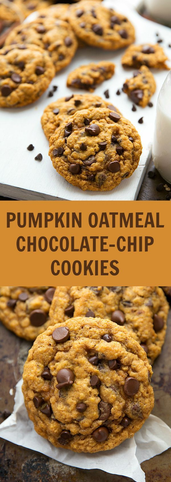 Pumpkin Oatmeal Chocolate-Chip Cookies (Non-Cakey Version)