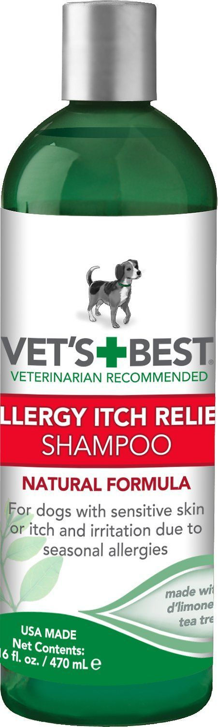 Vet's Best Allergy Itch Relief Dog Shampoo is great for dogs with itchy skin due to allergies or sensitive skin. Allergy Itch Relief Dog Shampoo uses essential oils and natural ingredients (oatmeal, D'Limonene, tea tree oil) to calm skin irritation and moisturize skin from incessant itching by washing away allergens attached to the fur and skin. Leaves your dog smelling fresh with herbal spa fragrance, and can be used as often as necessary without drying out your dog's skin. Will ...