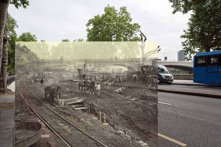 Construction site to the west of Waterloo Bridge, 1866-1870. | 18 Photos Of London's Past, Blended With Its Present