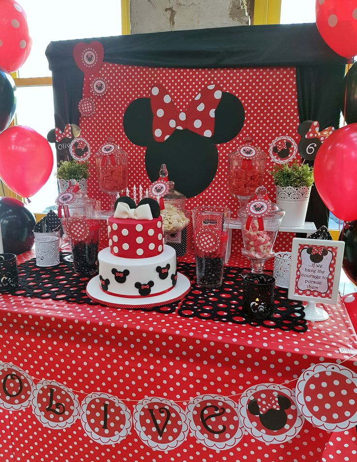 Very cute red Minnie Mouse party dessert buffet. Printables available to download from https://www.etsy.com/listing/452513052/red-minnie-mouse-printable-set-free?ref=shop_home_active_1 #minniemouse #easybreezyparties